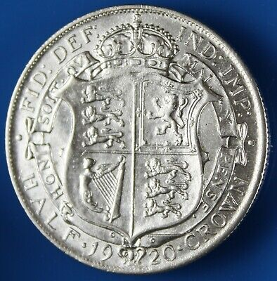 1920 King George V  .500 Fine Silver Half Crown - Excellent About UNC • 7.50£
