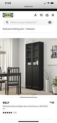 Ikea Billy Cabinet With Glass Doors- Black • 42£