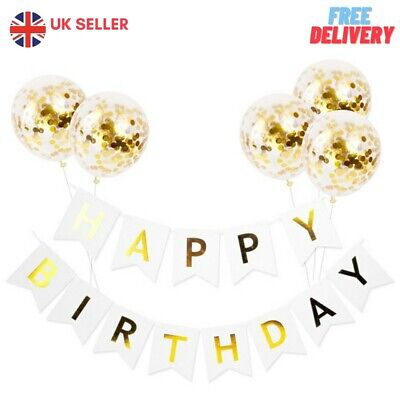 Bunting Banner And Foil Latex Confetti Round Sequin Balloon For Wedding Birthday • 5.99£