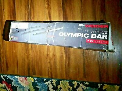 "AU94.37 • Buy Weider 7' Foot Olympic Barbell W/ Clips - 3 Piece Bar For 2"" Weight Plates Black"