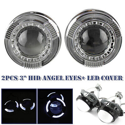 $84.14 • Buy 3  Car Round  LED Light Angel Eye Projector Lens  Headlight W/ Lampshade Cover