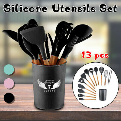 AU14.99 • Buy 13X Silicone Utensils Set Wooden Cooking Kitchen Baking Cookware BPA Free AU