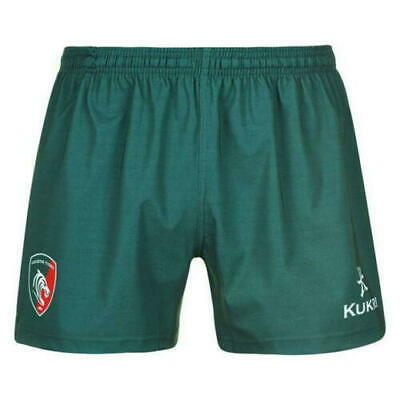 Leicester Tigers Rugby Shorts Men's Kukri Rugby 2018-19 Home Shorts - Green New • 14.99£