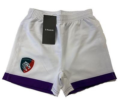 Leicester Tigers Rugby Shorts Men's Kukri Rugby 2018-19 Away Shorts - White New • 14.99£