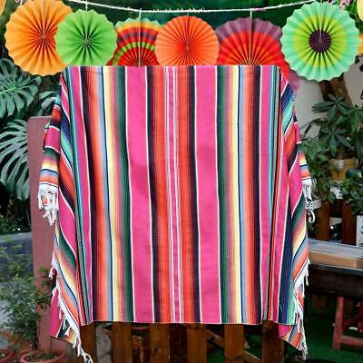 Handwoven Mexican Serape Blanket Fringe Runner Beach Rug Yoga Throw Table Cloth • 14.99£