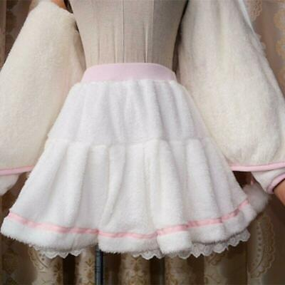 Japanese Sweet Lolita Plush Pink Preppy Kawaii Soft Fluffy Pleated Skirt Ting1 • 27.98£