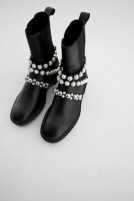 £29.99 • Buy Zara Ankle Boots Leather Platform Boots With Faux Pearl Size 3 UK CLEARANCE