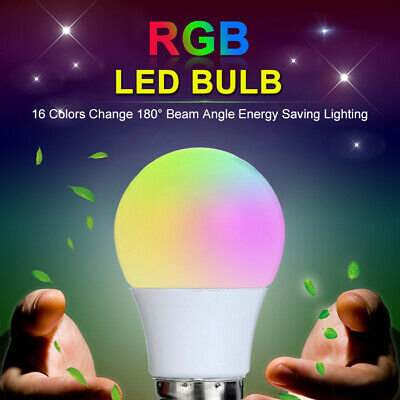 £9.99 • Buy E27 RGB Dimmable LED Bulb Light Screw Lamp 16 Colour Changing Remote Control