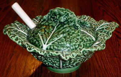 £17.59 • Buy Vintage Large Server Soup Tureen W/Ladle Majolica Lettuce Cabbage Leaf Bowl Lid