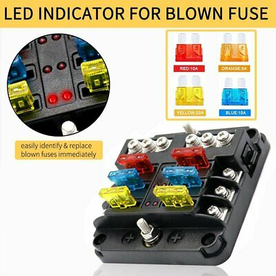 AU20.99 • Buy 23PC 6 Way Blade Fuse Box Block Holder LED Indicator Light 12V/32V Car Marine