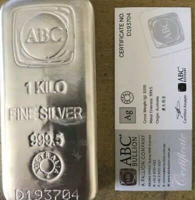 AU1350 • Buy 1kg ABC Silver Bullion Cast Bar