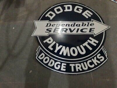 $ CDN251.06 • Buy Porcelain Dodge Plymouth Enamel Sign Size 30  X 31  Inches Double Sided