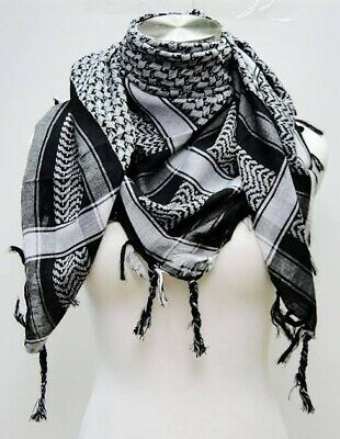 $8.99 • Buy Shemagh Military Army Black And White Tactical Arab Desert Scarf Heavyweight