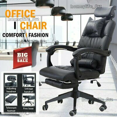 £65.99 • Buy Executive High Back Recliner Office Chair Computer Desk Soft Leather Swivel Seat