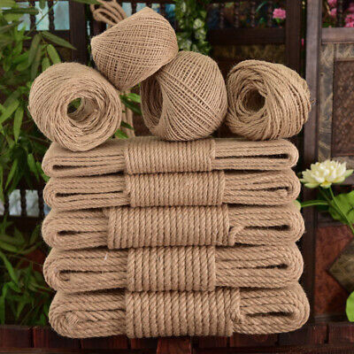 Natural Thick Jute Twine Hemp Rope Cord Strong Twine String For Crafts Binding • 9.54£