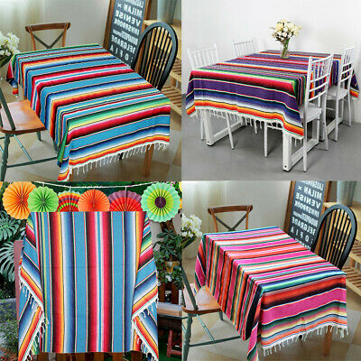 Cotton Striped Mexican Beach Blanket Throw Serape Tablecloth Outdoor Table Cover • 13.99£