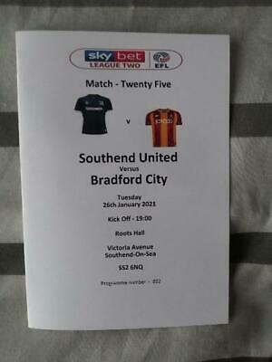 SOUTHEND UNITED V BRADFORD CITY 26.01.21 LEAGUE TWO MATCH PROGRAMME • 1.99£