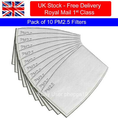 PM2.5 FILTER Packs Of 10 For Washable Reusable Cotton Face Mask Free Shipping • 3.49£