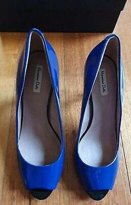 AU89 • Buy Massimo Dutti Blue + Black Patent Leather Peep Toe Shoes Size 38 (New With Box)
