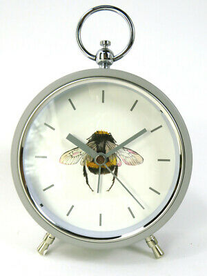 £20.99 • Buy Alarm Clock Bumble Bee Design Grey Metal With Glass Front And Grey Numbers And D