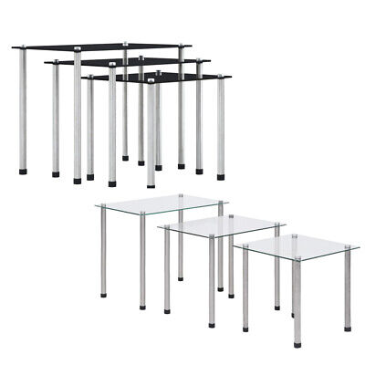 Nest Of Tables 3 Set Unit Top Gloss Living Room Furniture Units Black White NEW • 39.90£