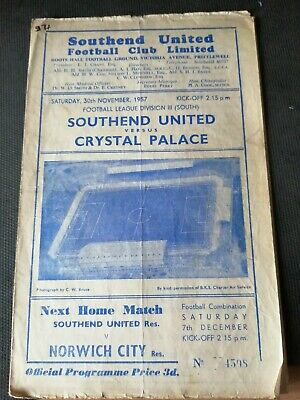 Southend United V Crystal Palace Programme 30 November 1957 Division 3 (south) • 2.99£