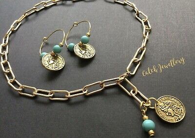 £4.99 • Buy GOLD Coin And Turquoise Paperclip Chain Choker Necklace With Coin Hoop Earrings