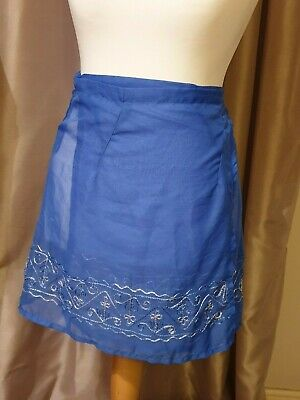 Ladies Blue Beach Skirt Wrap One Size Approx 14-18 Cherokee • 2.99£