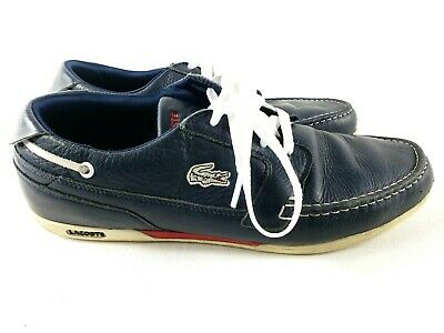 Lacoste Dreyfus Boat Shoe Leather Izod Sneaker Dark Blue White Men Size 9.5 • 21.24£