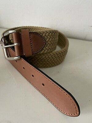 £45 • Buy ANDERSON'S Leather Trim Elasticated Woven Belt Brown 34UK / 90EU New With Tag