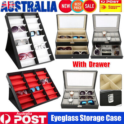 AU30.89 • Buy Sunglasses Glasses Eyeglass Display Storage Case Box Organizer Holder W/ Drawer