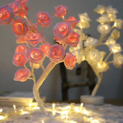 Table Lamps Rose Bouquet 24 LED's Tree Rechargeable Nightlight Desk Fairy Lights • 12.99£