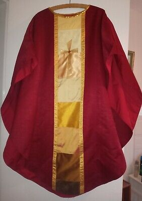£140 • Buy NEW Handmade Red Chasuble & Stole Set With Different Shades Of Gold Fabric