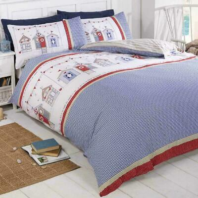 £18.99 • Buy Rapport Beach Huts Reversible Nautical Quilt Cover Bedding Sets Free P&P