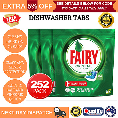 AU79.27 • Buy Fairy Dishwasher Tablets All In One 252PK Clean Action Rinse & Clean Dishwashing