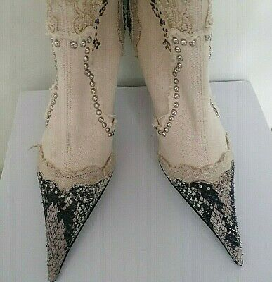 El Dantes Couture Long Boots High Heel Studs Lace Diamante Ivorys/4/37 New • 45£