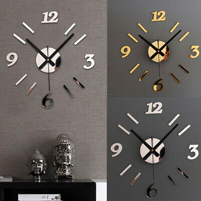 Large 3D DIY Numerals Wall Clock Surface Mirror Sticker Home Room Office Decor  • 9.99£