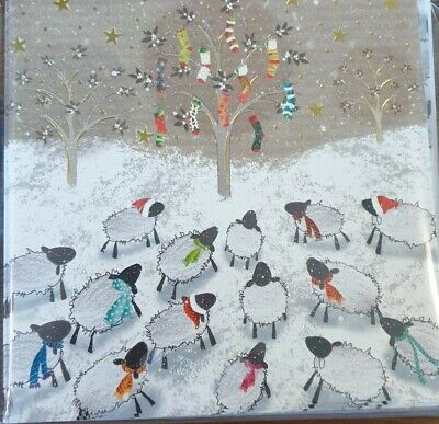 One Pack Of 10 Charity Christmas Cards - Sheep Around The Tree  • 1.50£