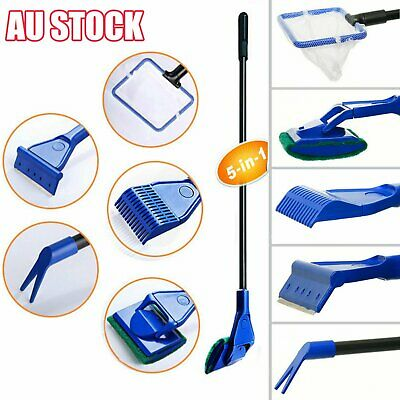 AU13.16 • Buy 5 In 1 Long Aquarium Fish Tank Cleaner Fish Net+ Rake+ Scraper+ Fork+ Sponge AL
