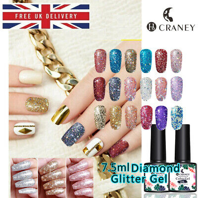 Sparkling Diamond Gel Nail Polish CRANEY Glitter Laser Semi Permanent Varnish • 4.99£