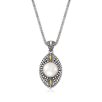 $99 • Buy 12mm Cultured Mabe Pearl Bali Necklace In Sterling Silver & 18kt Gold