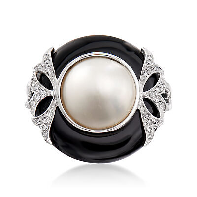 $746.25 • Buy 12mm Cultured Mabe Pearl & Black Onyx Ring With Diamonds In 14kt White Gold