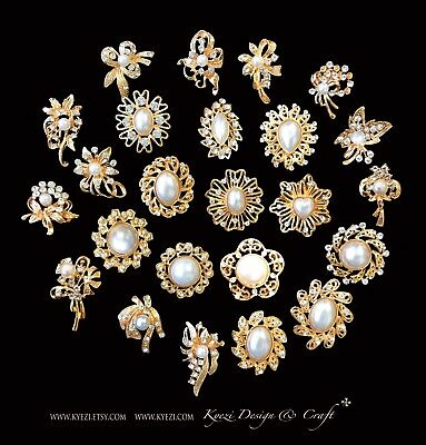 £7.06 • Buy 24 Pc Assorted Alloy Gold Pearl Rhinestone Crystal Brooches Wedding Bouquet Cake