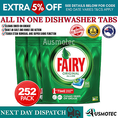 AU79.27 • Buy Fairy Dishwasher Tablets All In One Rinse & Clean Dishwashing Clean Action 252PK