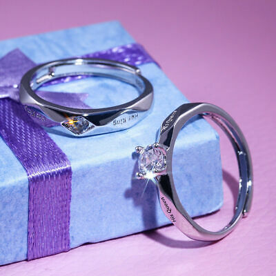 £3.99 • Buy  King&Queen  Valentines Day Gifts Lover For Him Her 925 Silver Rings Love Couple