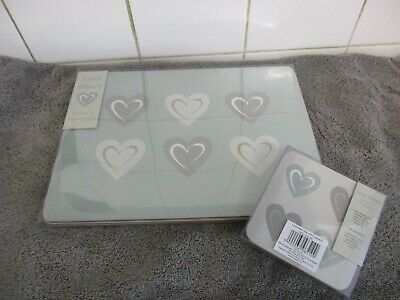 £12.99 • Buy Love Heart Grey  Placemats & Coasters Set Of 4 Cork Backed