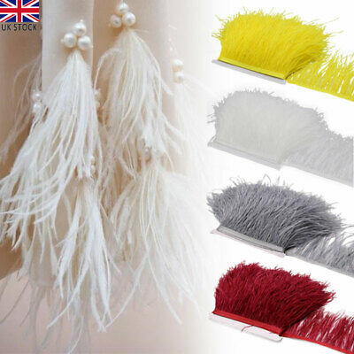 £5.55 • Buy 4 Colors 1M Quality Ostrich Feather Fringe Trim For Millinery Hat Craft Dress UK