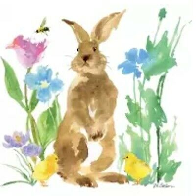 £1.30 • Buy 4 Single Paper Napkins 33 Cm, Easter, Felix The Rabbit With Chicks And Flowers