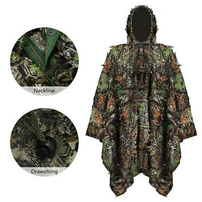 3D Camouflage Ghillie Suit Leaf Poncho Stealth Cloak Jungle Hunting Camo Clothe • 20£