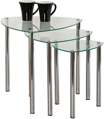 ASPECT Arena Set Of 3 Nesting END Side Table-Clear Glass,Chrome Legs, 48x48x46 • 48.66£